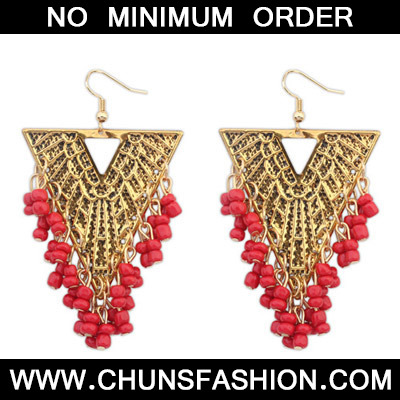 Red Beads Triangle Shape Earring