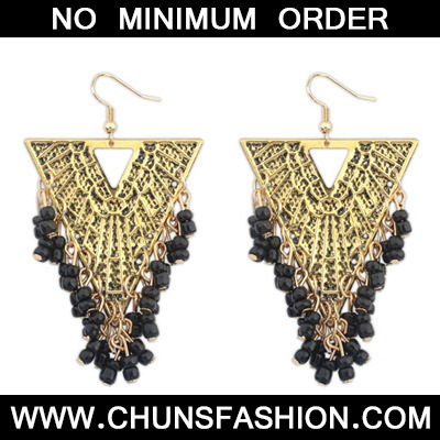Black Beads Triangle Shape Earring