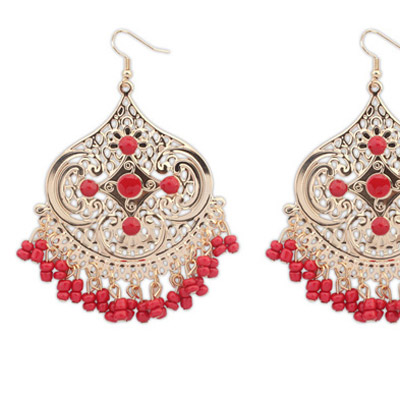 Red Tassel Geometrical Shape Earring