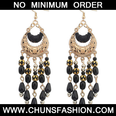 Black Tassel Crescent Shape Earring