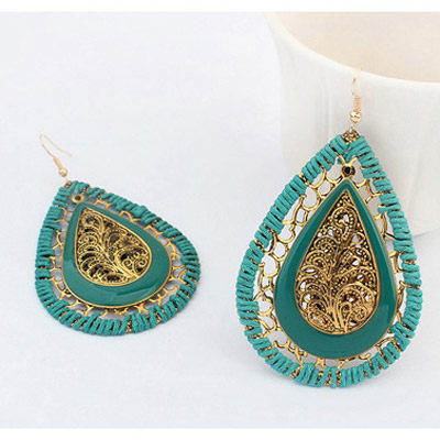 Green Waterdrop Shape Hollow Out Earring