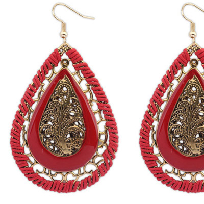 Red Waterdrop Shape Hollow Out Earring