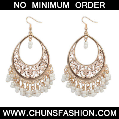 Beige Bead Tassel Hollow Out Earring