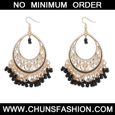 Black Bead Tassel Hollow Out Earring