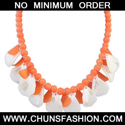 Orange Beads Leaf Shape Necklace