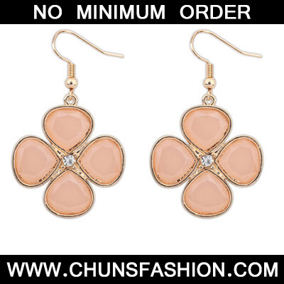 Light Pink Diamond Clover Shape Earring