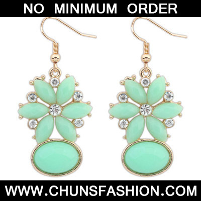 Green Diamond Flower Earring
