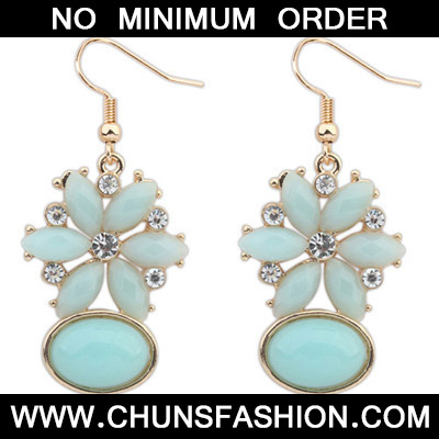 Light Blue Diamond Flower Earring