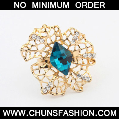 Sapphire Blue Hollow Out Ring