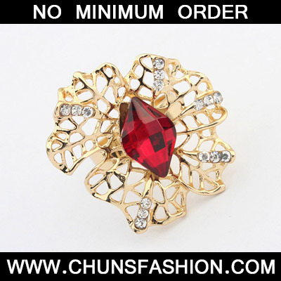 Red Hollow Out Ring
