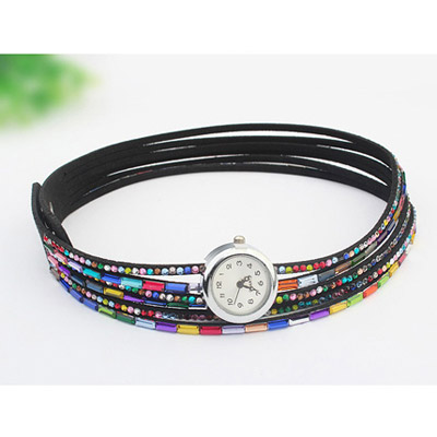 Black Diamond Multilayer Ladies Watch