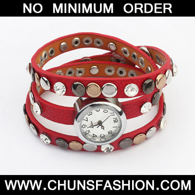 Red Rivet Multilayer Ladies Watch