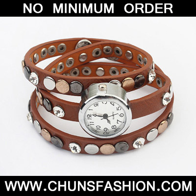 Coffee Rivet Multilayer Ladies Watch