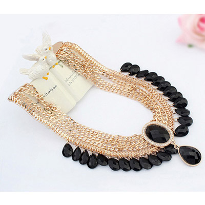 Black Waterdrop Shape Multilayer Necklace