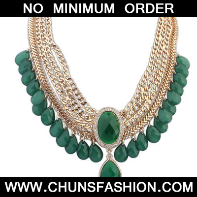 Green Waterdrop Shape Multilayer Necklace
