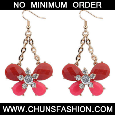 Red Diamond Butterfly Shape Earring