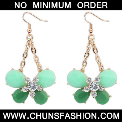 Green Diamond Butterfly Shape Earring