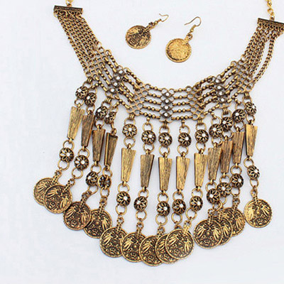 Antique Gold Diamond Coins Tassel Jewelry Set