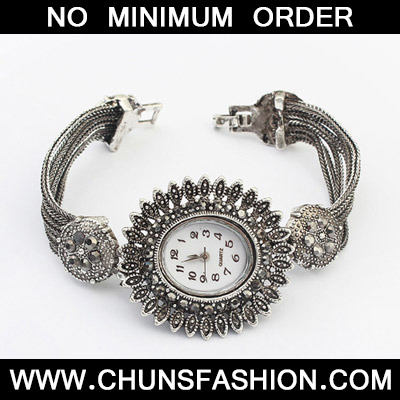 Silver Diamond Flower Ladies Watch