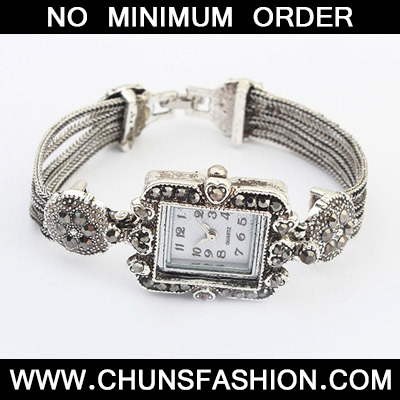Silver Diamond Square Shape Ladies Watch