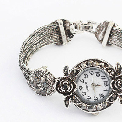Silver Diamond Rose Ladies Watch