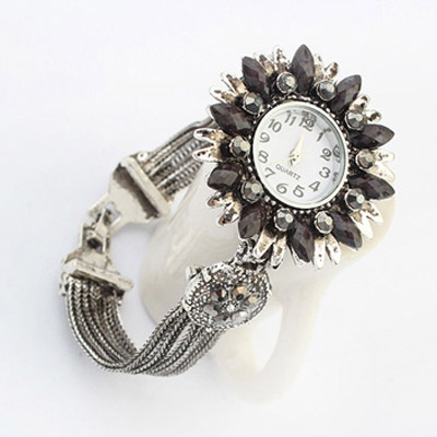Black Diamond Flower Ladies Watch