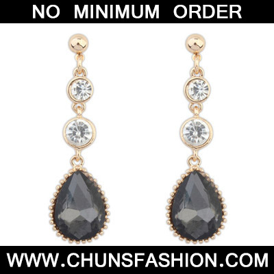 Black Diamond Waterdrop Shape Earring