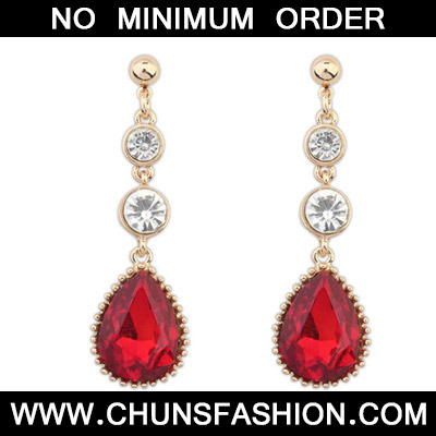 Red Diamond Waterdrop Shape Earring