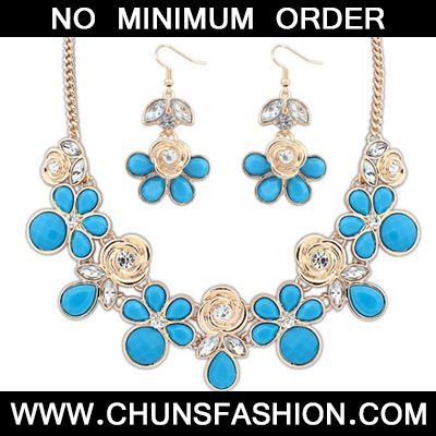 Blue Rose Shape Jewelry Set