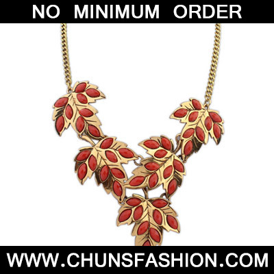 Red Maple Leaf Shape Necklace