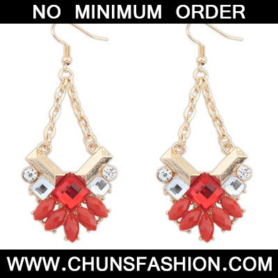 Red Geometrical Shape Earring