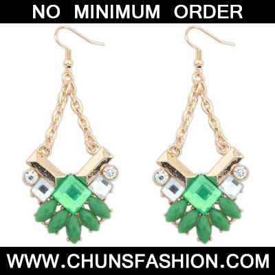 Green Geometrical Shape Earring
