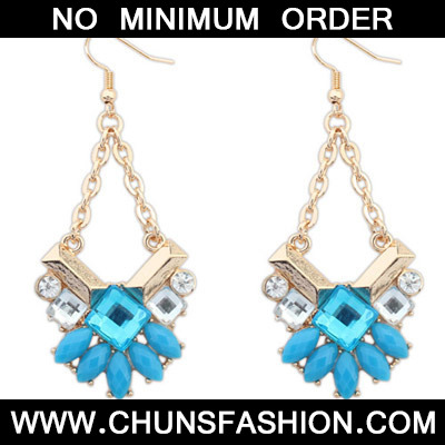 Blue Geometrical Shape Earring