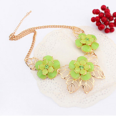 Green Flower Jewelry Set
