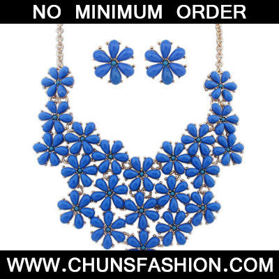 Blue Flower Shape Jewelry Set