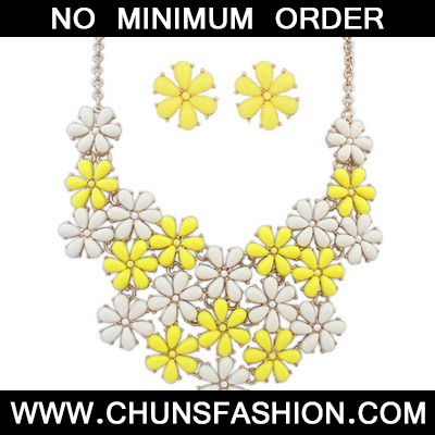 Yellow & Beige Flower Shape Jewelry Set
