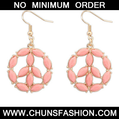 Pink Round Shape Earring