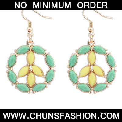 Green & Yellow Round Shape Earring
