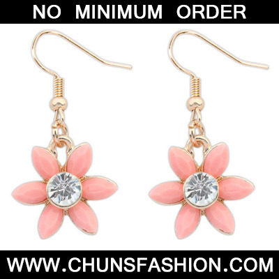 Pink Diamond Flower Earring