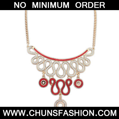 Red Diamond Geometrical Pendant Necklace