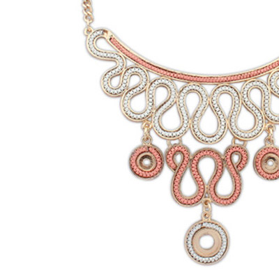 Pink Diamond Geometrical Pendant Necklace