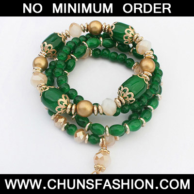 Green Beads Multilayer Bracele
