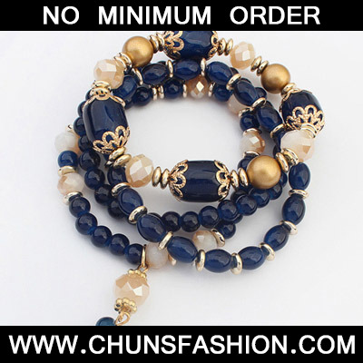 Blue Beads Multilayer Bracele