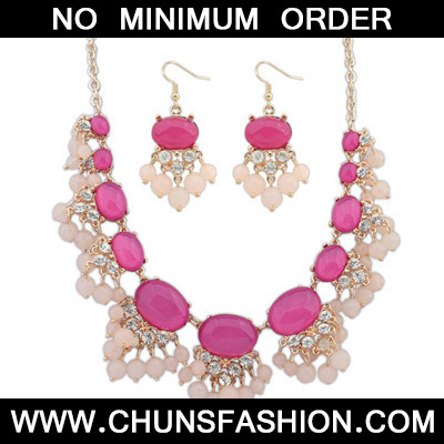 Purple Red Jewelry Set