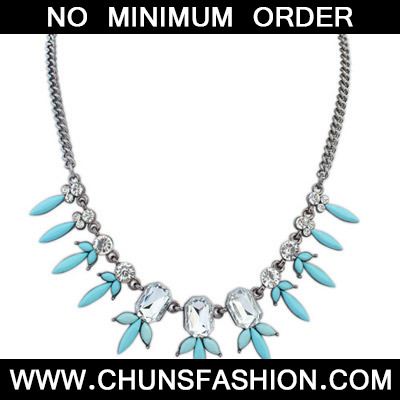 Light Blue Diamond Geometrical Shape Necklace