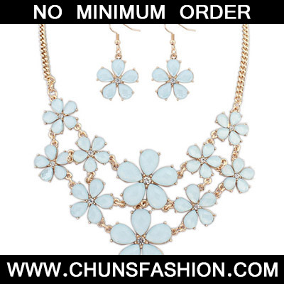 Light Blue Flower Jewelry Set