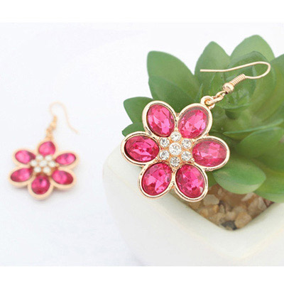 Purplered Flower Earring