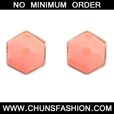 Orange Geometrical Shape Stud Earring