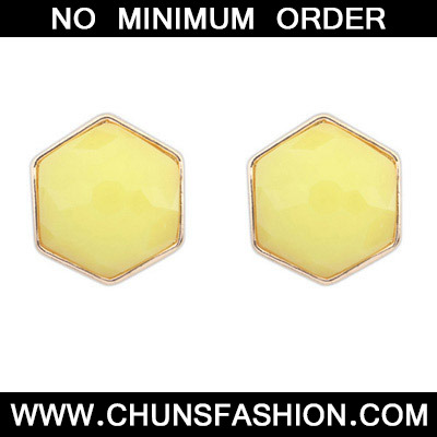 Yellow Irregular Shape Stud Earring