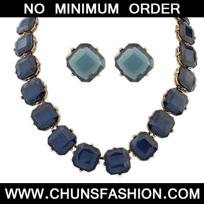Dark Blue Transparent Square Shape Jewelry Set